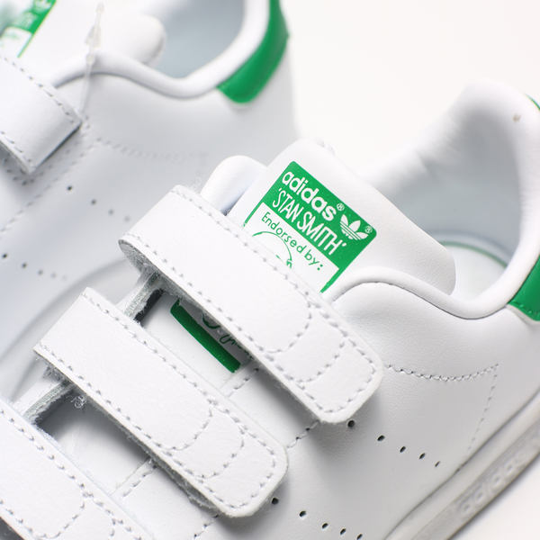 Adidas Originals Stan Smith中童 白皮革 綠 魔鬼沾 休閒鞋  (布魯克林) M20607