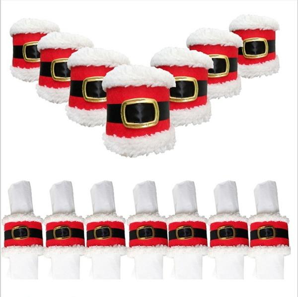 聖誕裝飾品 聖誕皮帶扣餐巾圈 新款 聖誕皮帶扣餐巾套─預購CH2952