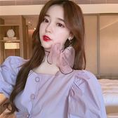 甜美氣質鬼馬系少女方領正韓風襯衣短袖百搭上衣女潮優樂居生活館