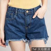 【天母嚴選】不規則破壞抽鬚後鬆緊丹寧牛仔短褲(共二色)
