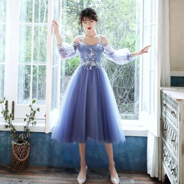 伴娘服 藍色伴娘服仙氣質2020新款畢業平時可穿姐妹團禮服遮肉顯瘦遮手臂