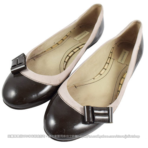 茱麗葉精品 二手名牌 【8成新】BURBERRY 撞色格紋皮革蝴蝶結娃娃鞋 38