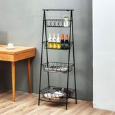 廚房衛生間鐵藝置物架落地多層收納架梯形層架客廳浴室儲物架黑色 js8138『小美日記』