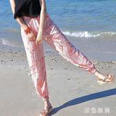 2019夏季波西米亞海邊度假雪紡哈倫褲女士沙灘褲寬鬆休閒燈籠褲長褲子 GD2008『黑色妹妹』