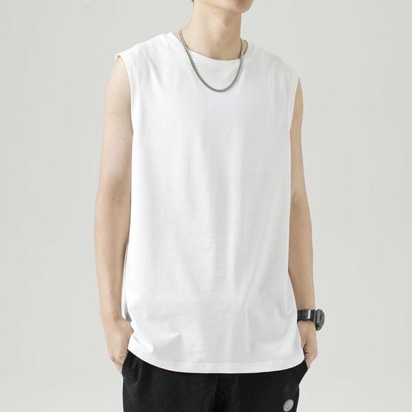 背心運動背心男士夏季ins純棉健身無袖坎肩衣服白色打底衫短袖t恤 JUST M