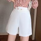 高腰闊腿褲短褲女寬松新款春款顯瘦休閑A字西裝短褲潮D562依佳衣