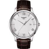 TISSOT 天梭 Tradition 羅馬經典大三針石英手錶-銀x咖啡/42mm T0636101603800