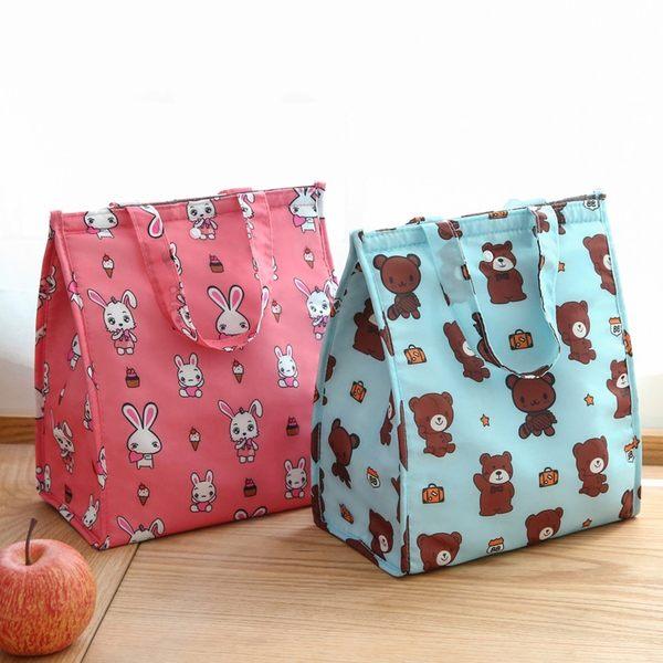 《簡單購》韓風可愛動物防潑水可摺疊手提保溫便當袋/野餐袋/保冷袋