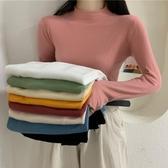 針織打底衫 秋季2020新款網紅純色半高領打底衫上衣韓版修身百搭長袖針織衫女-米蘭街頭