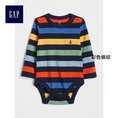 Gap男嬰兒 條紋長袖圓領包屁衣 374315-彩色條紋