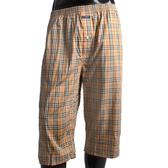BURBERRY 經典大格紋棉質七分居家褲(駝色)085012-3