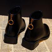 【免運】季 潮女后拉鏈短筒短靴英倫風低跟粗跟防水臺馬丁靴子 隨想曲