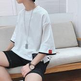 2018夏季新款假兩件短袖T恤男士正韓潮流七分袖學生寬鬆百搭中袖限時八九折