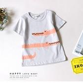 寶寶 可愛橘色滿版小鱷魚圓領短T 淺灰 卡通 休閒 幼兒 棉質 春夏 短袖 上衣 T恤