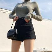 牛仔短褲女黑色高腰牛仔短褲女夏季薄款2020新款外穿顯(快速出貨)
