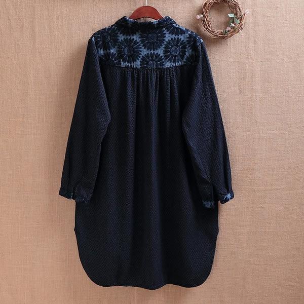 長版上衣 日森刺繡翻領蕾絲拼接-月兒的綺麗莊園