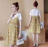 新款孕婦夏裝短袖孕婦連身裙夏季中長款假兩件孕婦裝上衣寬鬆