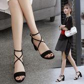涼鞋粗跟韓版高跟鞋交叉綁帶羅馬涼鞋