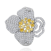 胸針 純銀鍍白金鑲鑽-優雅花朵生日情人節禮物女胸花3色73cw15[時尚巴黎]