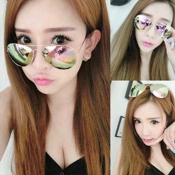 🏆銷量冠軍🏆現貨-墨鏡太陽眼鏡 複古彩色反光鏡面女明星款彩膜UV400墨鏡男女通用(20色任選)6
