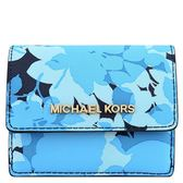MICHAEL KORS JET SET藍色花朵防刮牛皮零錢/短夾