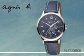 ~時間道~[agnes b ~錶]太陽能小蜥蜴圖式腕錶深藍面藍皮V157 0BR0B BZ