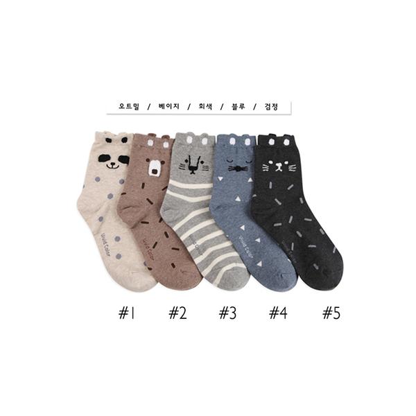 韓國動物臉造型短襪-多款任選 (SOCK-346-W)