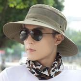 戶外帽子男士夏天漁夫帽遮陽帽防曬帽休閒太陽帽正韓潮時尚釣魚帽