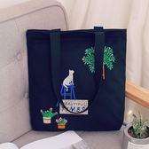 托特包 文藝環保百搭刺繡帆布包袋包購物袋學院女士包袋托特單肩女包 雙11購物節