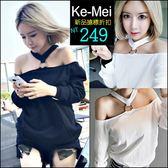 克妹Ke-Mei【AT48266】歐美時尚辛辣金屬釦環吊頸摟空寬鬆T恤上衣