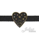 茱麗葉精品【全新現貨】Christian Dior CD LOGO愛心造型鎖骨鍊.黑
