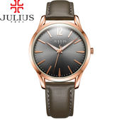JULIUS 聚利時 微星綻耀彎針設計皮帶腕錶-大象灰/39mm 【JA-983MF】