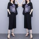 雪紡套裝兩件式 XL-5XL夏裝短袖中年女裝雪紡裙褲印花上衣寬松中老年兩件套2F088.9536 胖丫