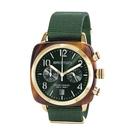BRISTON CLUBMASTER 經典雙眼計時腕錶-金框X寶石綠