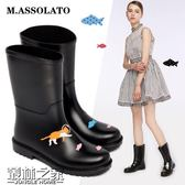 【618好康又一發】新款時尚小馬靴套鞋輕便防滑水雨靴雨鞋