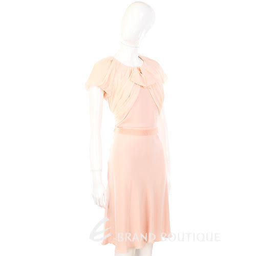 Max Mara 粉橘色拼接設計短袖洋裝 1310358-32