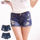 短褲--獨特魅力鉚釘刷破橘色釦牛仔短褲(...