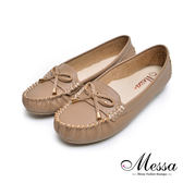 【Messa米莎專櫃女鞋】MIT全牛皮舒適好感車縫線蝴蝶結豆豆底莫卡辛鞋-可可色
