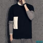 假兩件毛衣男加絨厚款青年上衣秋冬男裝襯衫領針織衫男打底衫