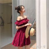 洋裝韓版chic修身顯瘦復古紅色荷葉邊大擺裙 一字領露肩洋裝女  嬌糖小屋