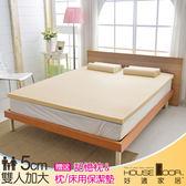 House Door 大和布套 5cm乳膠床墊抗菌保潔組-雙大6尺(璀璨金)
