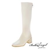 長靴 完美比例素面顯瘦中跟長靴(米)*BalletAngel【18-L888mi】【現+預】