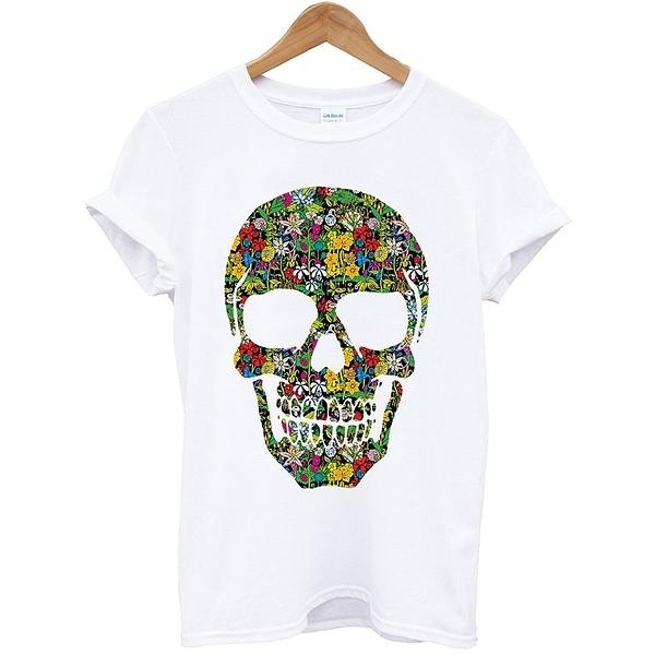 Floral Skull#2短袖T恤-白色 骷髏圖案豹紋時尚碎花設計潮流街頭 hype 390 gildan