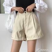 短褲 寬鬆卷邊牛仔褲短褲高腰百搭顯瘦薄款闊腿褲學生熱褲 樂芙美鞋