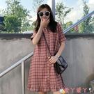 短袖洋裝 短袖連身裙女學生夏甜美森系2021新款法式polo領超仙寬鬆顯瘦裙子 愛丫 免運
