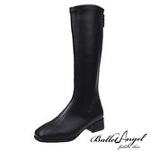 長靴 絕對品味車線方頭長筒跟靴(黑)*BalletAngel【18-9991bk】【現+預】