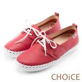 CHOiCE 舒適渡假休閒 牛皮縫線休閒包鞋-紅色