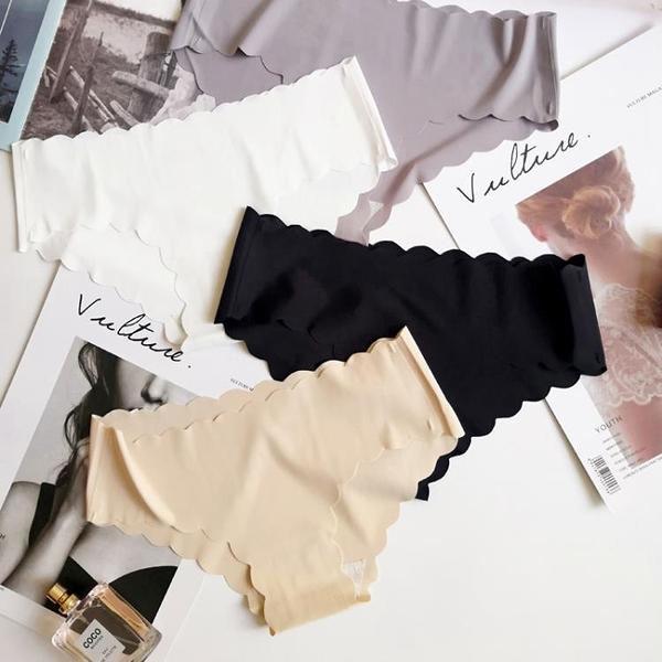 促銷 一片式無痕內褲女性感冰絲低腰火辣超薄透明三角少女士內褲純棉襠