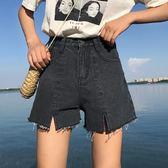 夏季正韓胖mm大尺碼高腰牛仔短褲女寬鬆顯瘦A字破洞毛邊闊腿熱褲潮