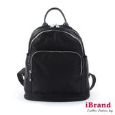 【i Brand】簡約真皮多口袋後背包-黑 SPL-2697-BK
